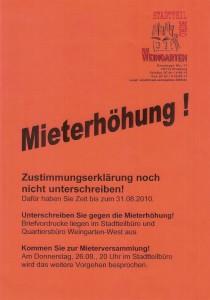 Plakat Mieterhöhung Weingarten Sommer 2010